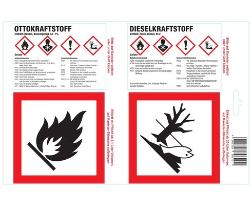 Haftetikette für Kraftstoffkanister Otto-/Dieselkraftstoff EU